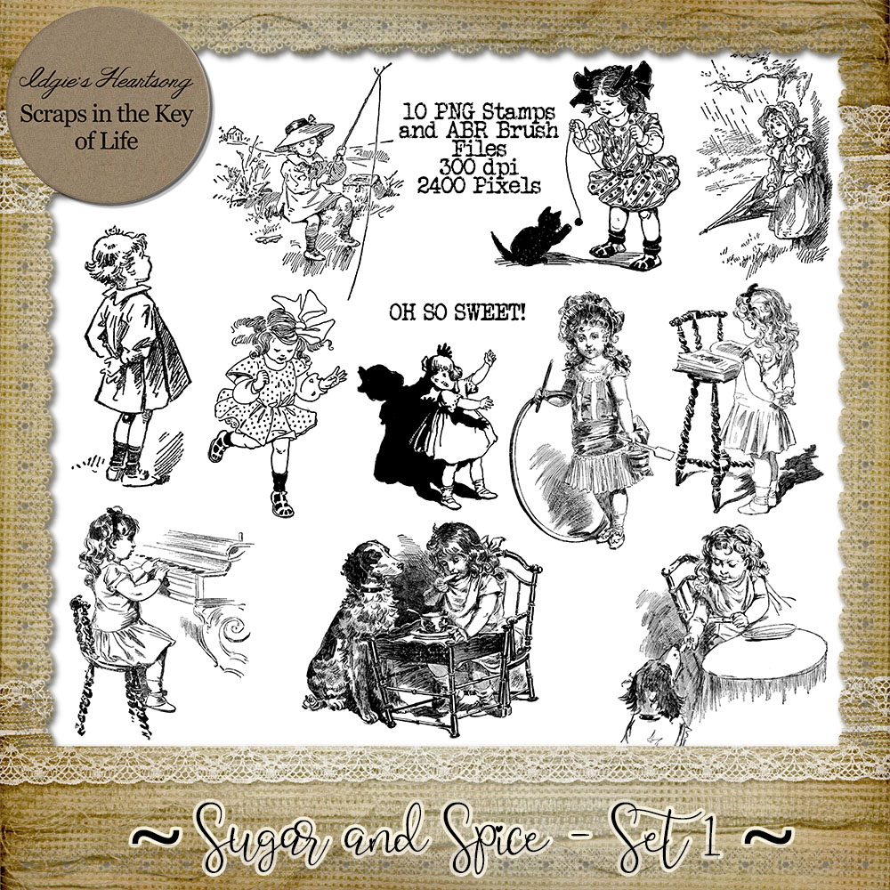 Sugar And Spice - Set 1 - 11 PNG Stamps and ABR Brushes by Idgie's Heartsong