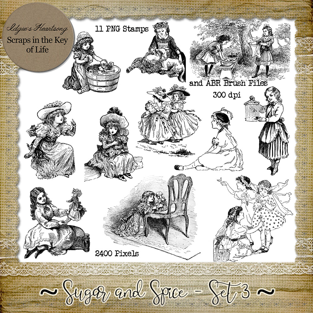 Sugar And Spice - Set 3 - 11 PNG Stamps and ABR Brush Files by Idgie's Heartsong