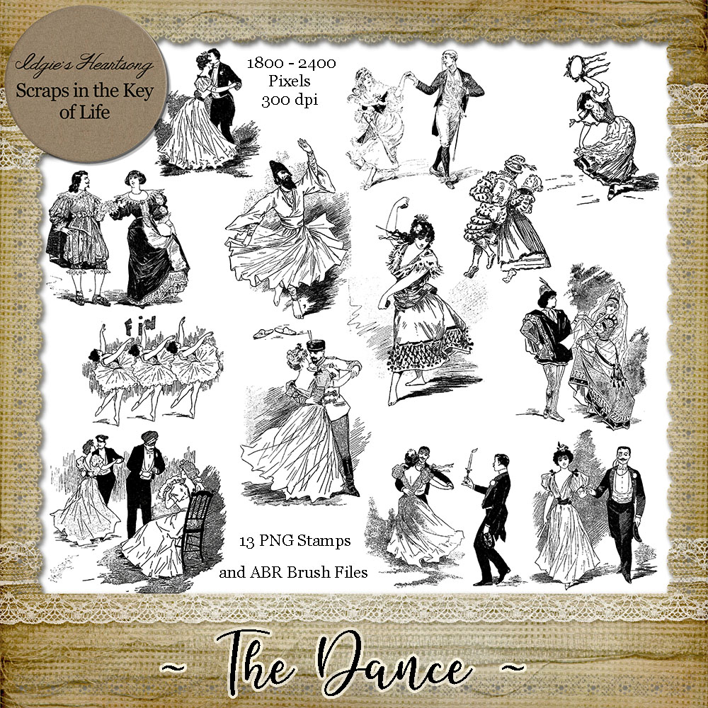 The Dance - 13 Magical PNG Stamps and ABR Brush Files by Idgie's Heartsong