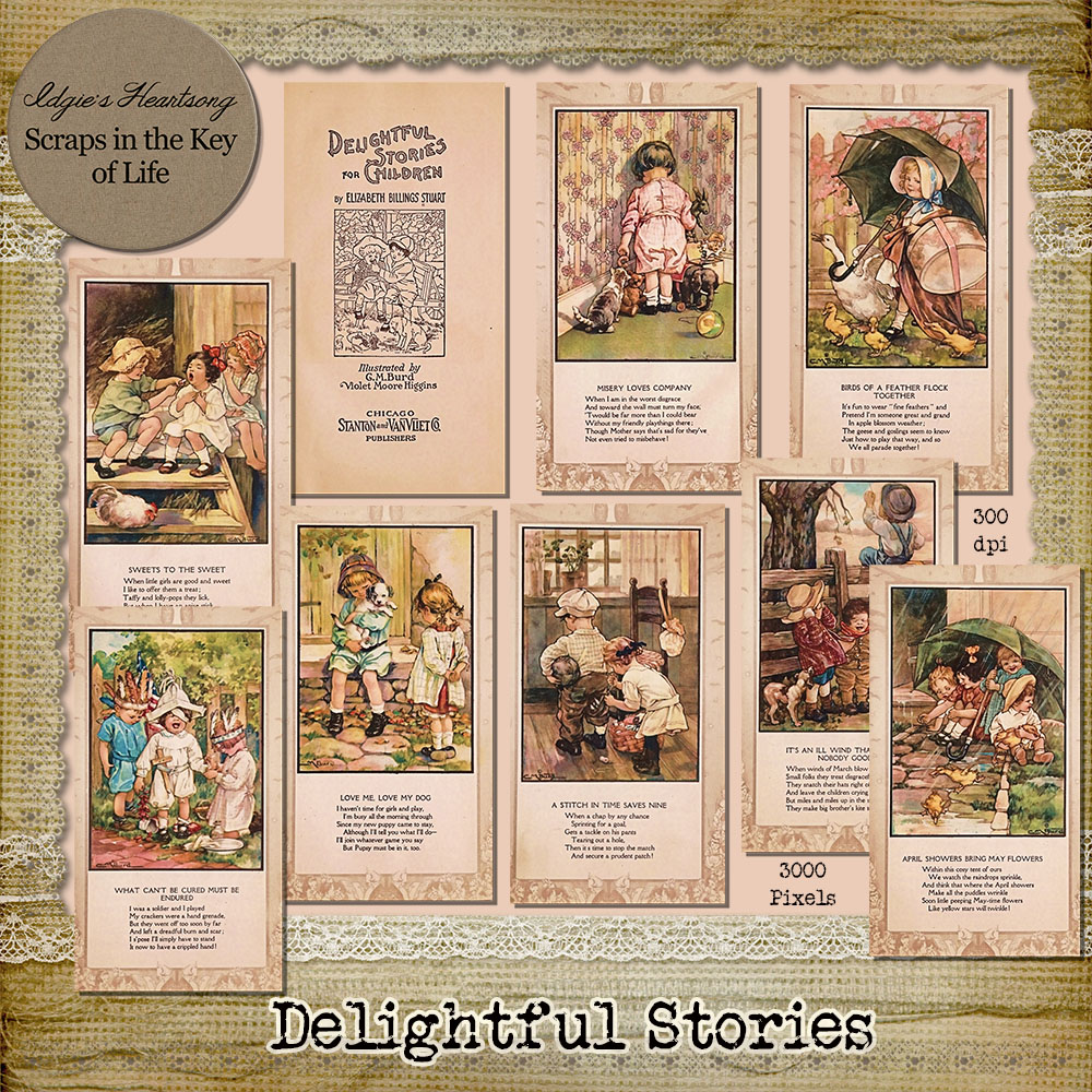 Delightful Stories - 9 Vintage Story Book Pages by Idgie's Heartsong