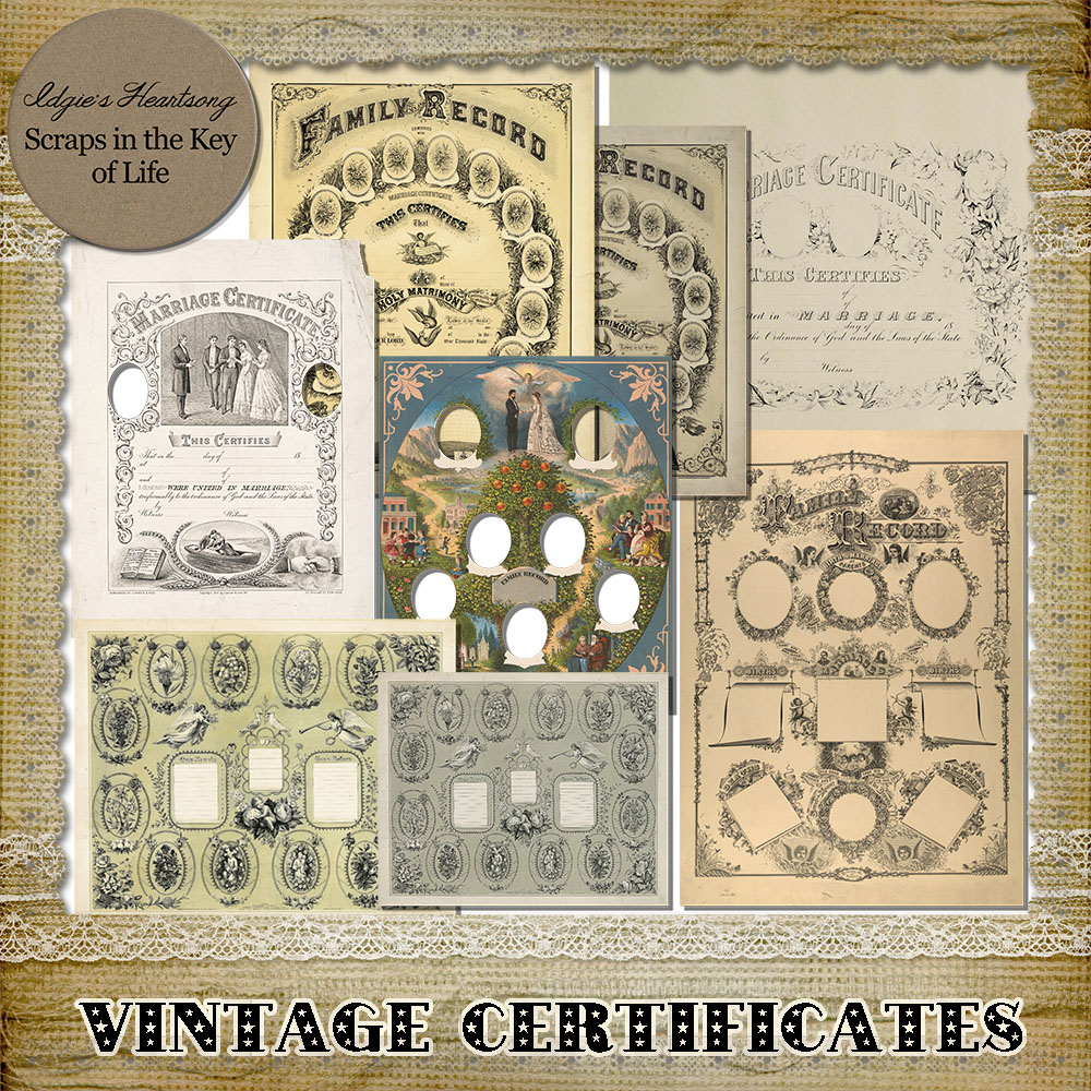 Vintage FAMILY CERTIFICATES by Idgie's Heartsong