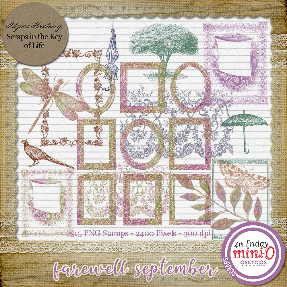 Farewell September - 15 Beautiful PNG Stamps