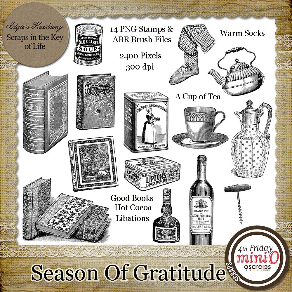 Season of Gratitude - 14 PNG Stamps and ABR Brushes by Idgie's Heartsong