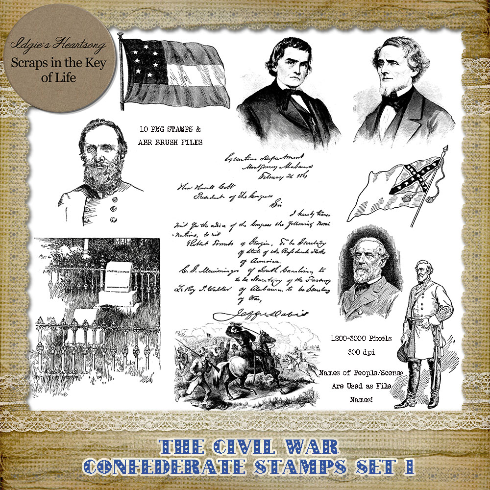 THE CONFEDERATES - 10 PNG Stamps and ABR Brush Files - Set 1 by Idgie's Heartsong
