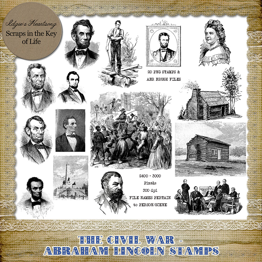 ABRAHAM LINCOLN - 20 PNG Stamps and ABR Brushes by Idgie's Heartsong