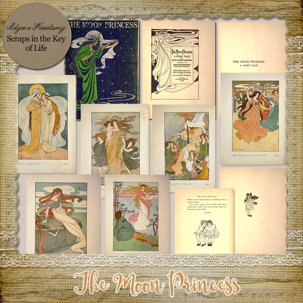 The Moon Princess - 11 Vintage Book Pages by Idgie's Heartsong
