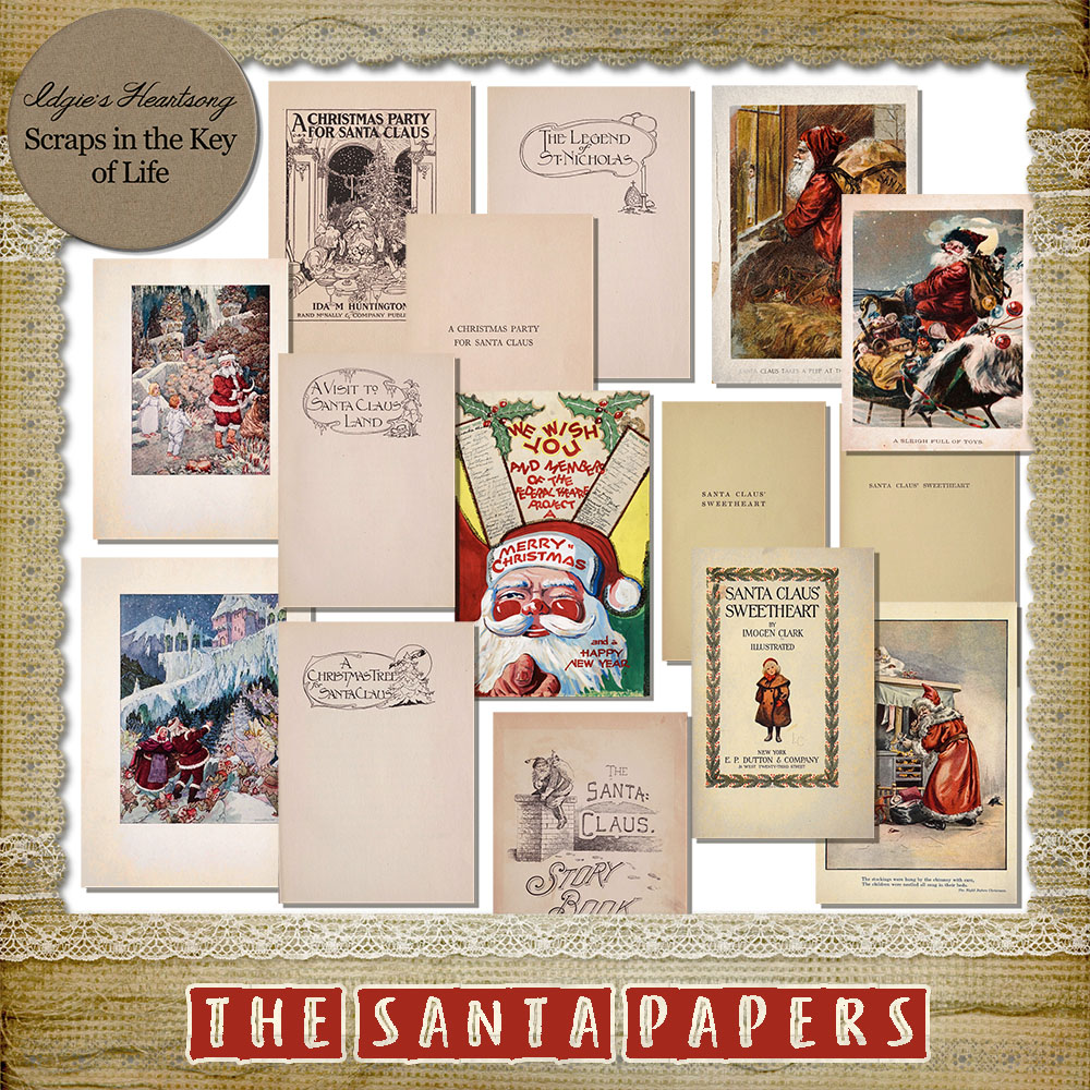 The Santa Papers - 15 Vintage PNG Pages by Idgie's Heartsong