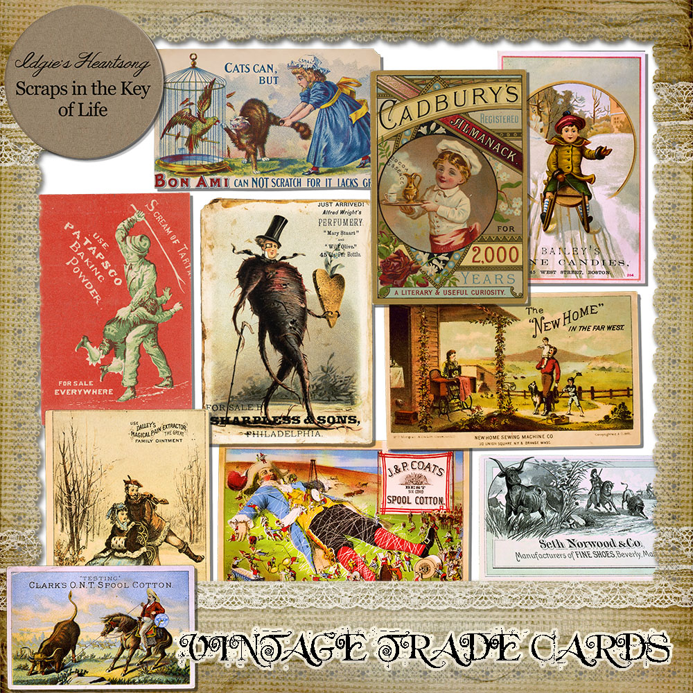 10 Vintage TRADE CARDS by Idgie's Heartsong