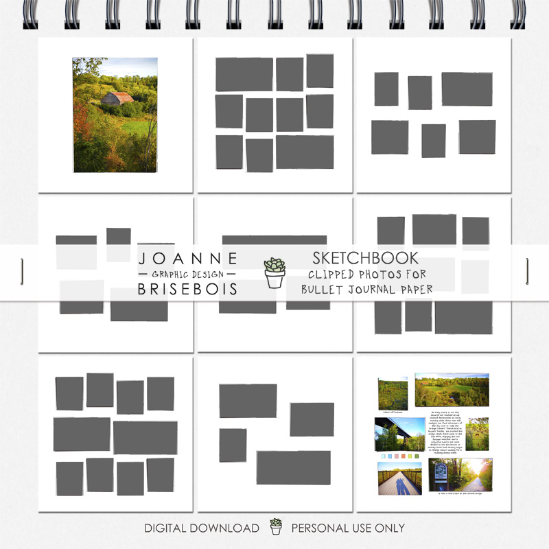 Sketchbook Clipped Photos for Bullet Journal Paper