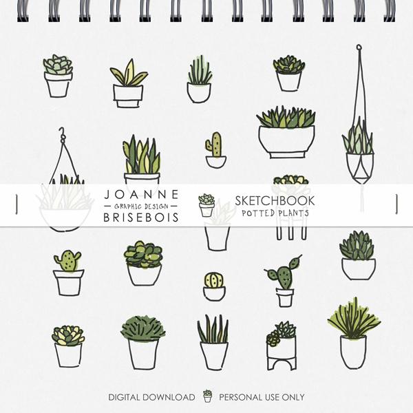 Sketchbook Potted Plants