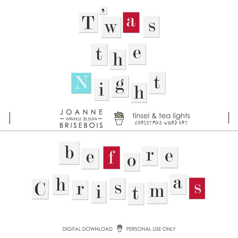 Tinsel and Tea Lights Christmas Word Art