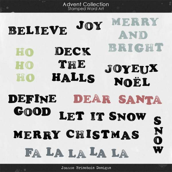 Advent Collection Stamped Word Art