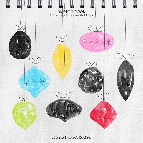 Sketchbook Christmas Ornament Masks