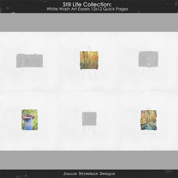 Still Life Collection: White Wash Art Easels 12x12 Quick Pages