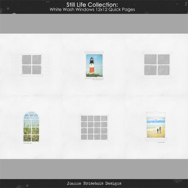 Still Life Collection: White Wash Windows 12x12 Quick Pages Pack