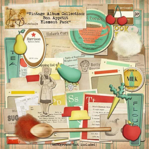 Vintage Album Collection: Bon Appetit Element Pack