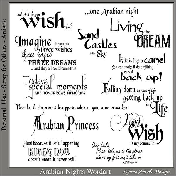 Arabian Nights Wordart and Brushes