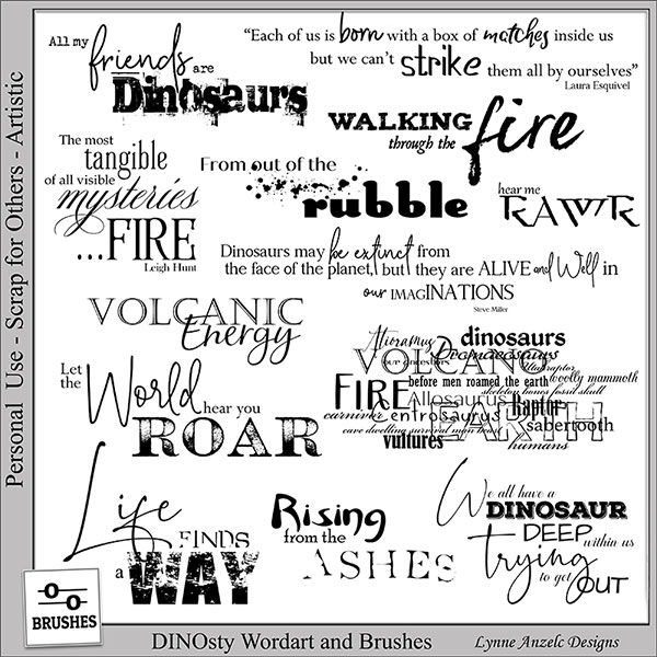 DINOsty Wordart and Brushes