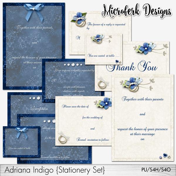 Adriana Indigo Stationery Set