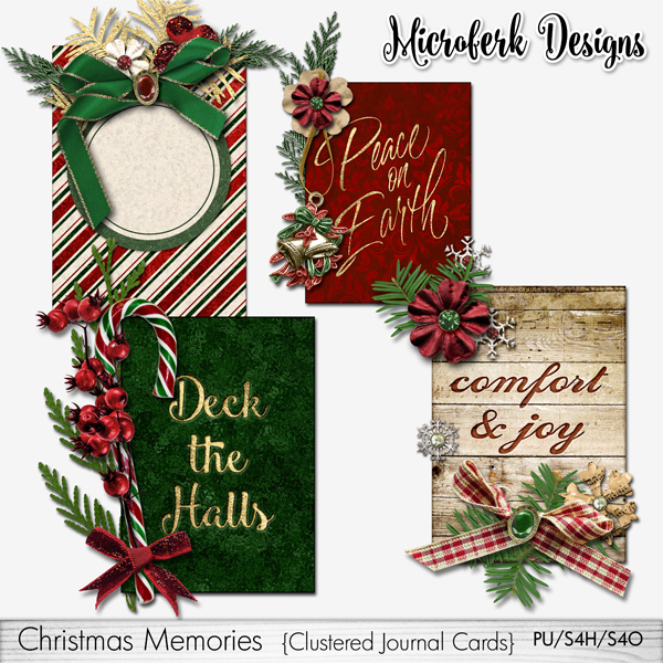 Christmas Memories Clustered Journal Cards