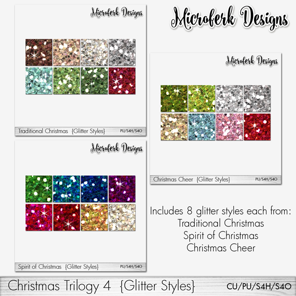 Christmas Trilogy 4 Glitter Styles CU