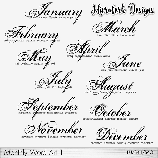 Monthly Word Art 1