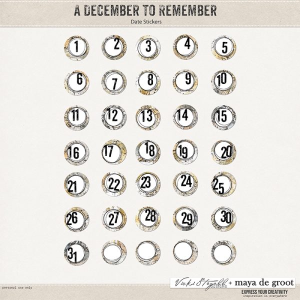A December to Remember - Date Stickers
