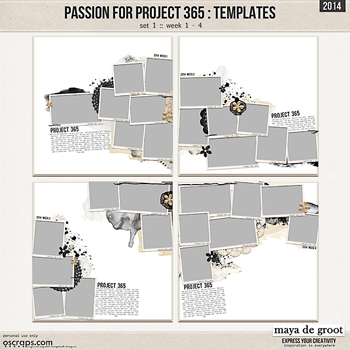 Passion for Project 365 - 2014 Template set 1