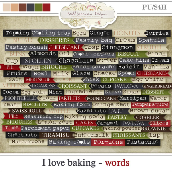 I love baking (Words)