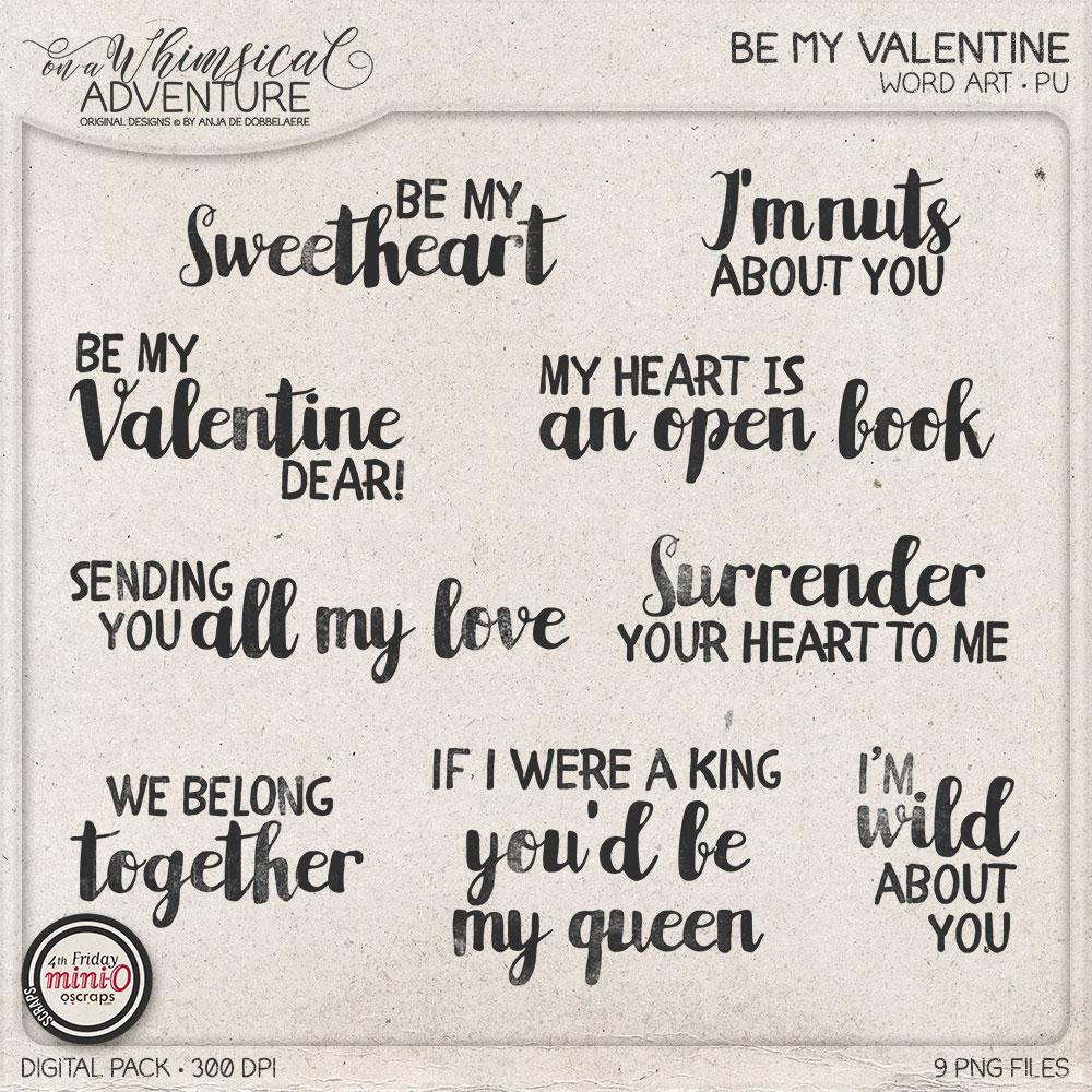 Be My Valentine Word Art