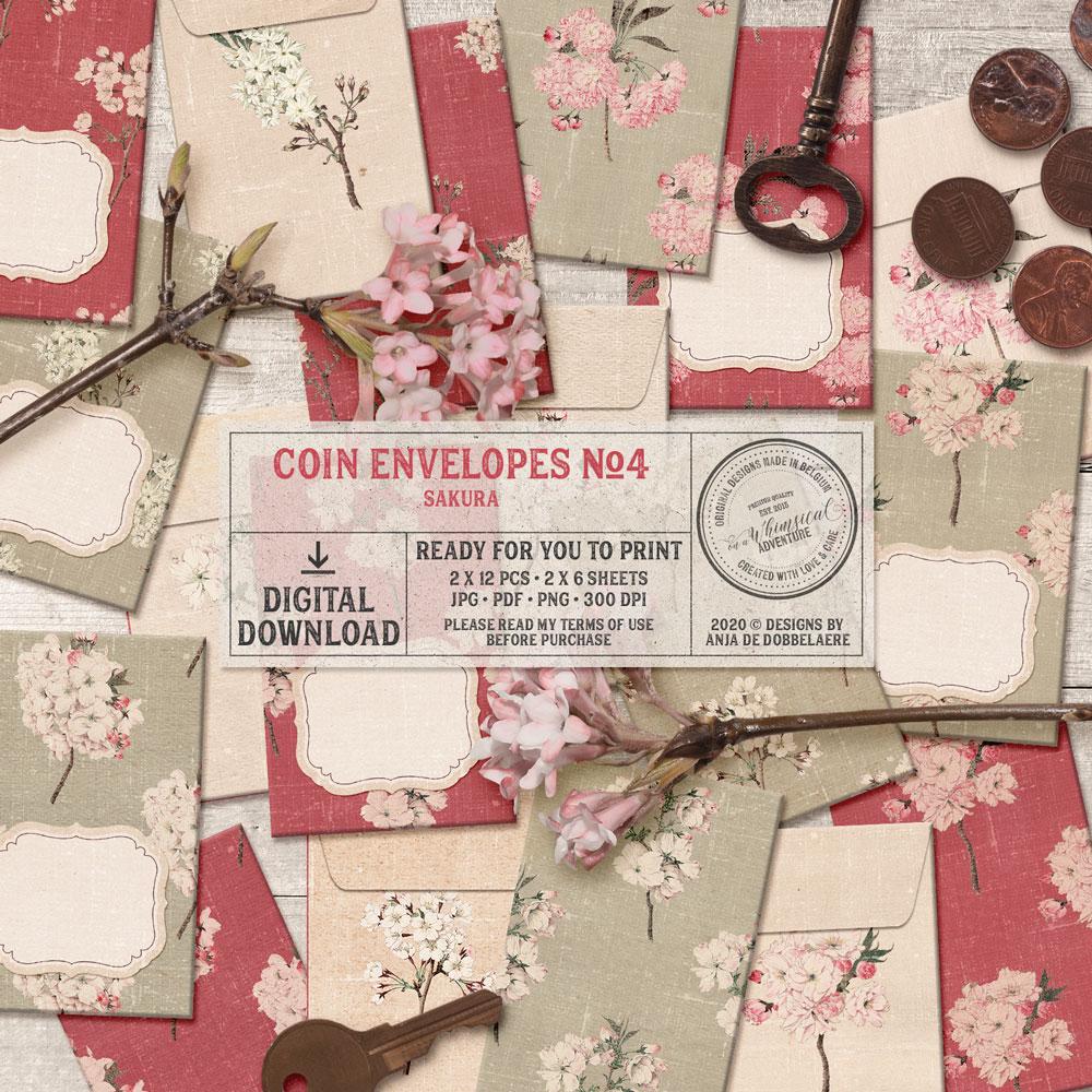 Coin Envelopes No4 Sakura