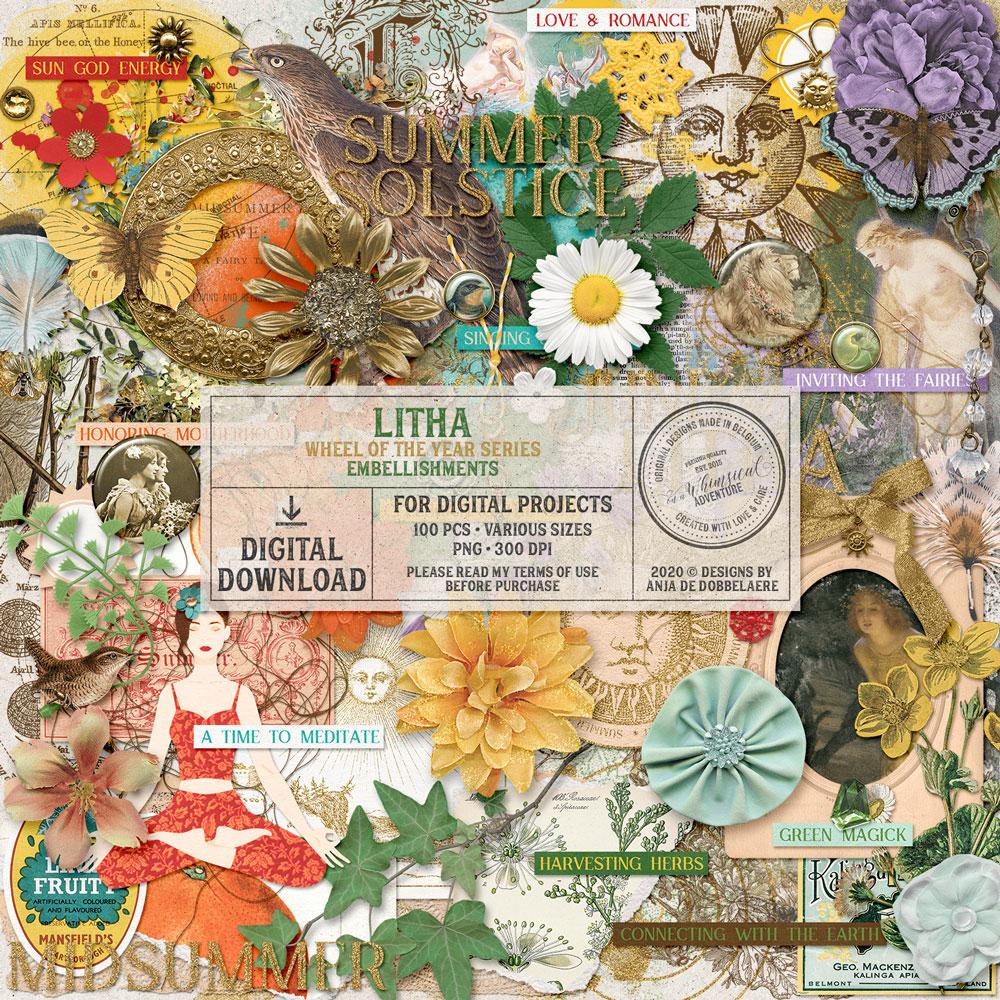Wheel Of The Year Litha Embellishments