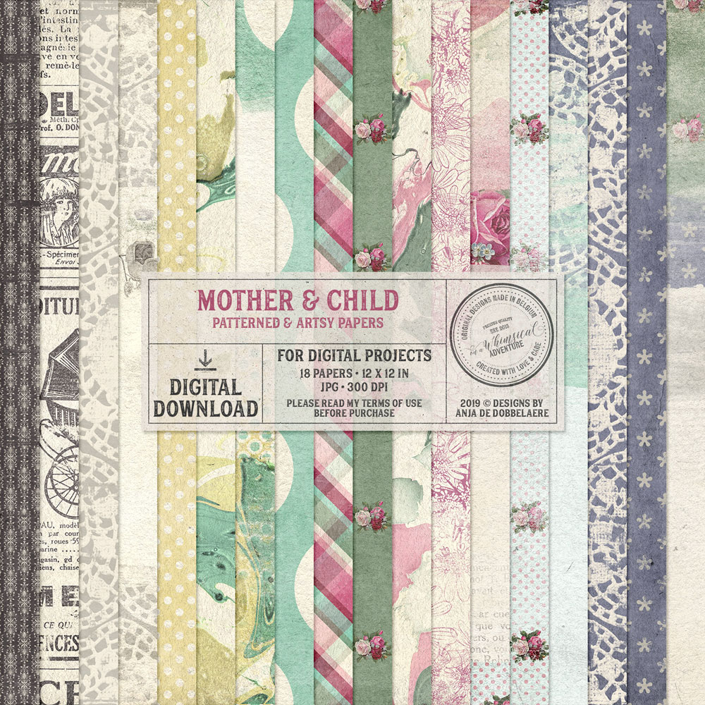 Mother And Child Patterned and Artsy Papers