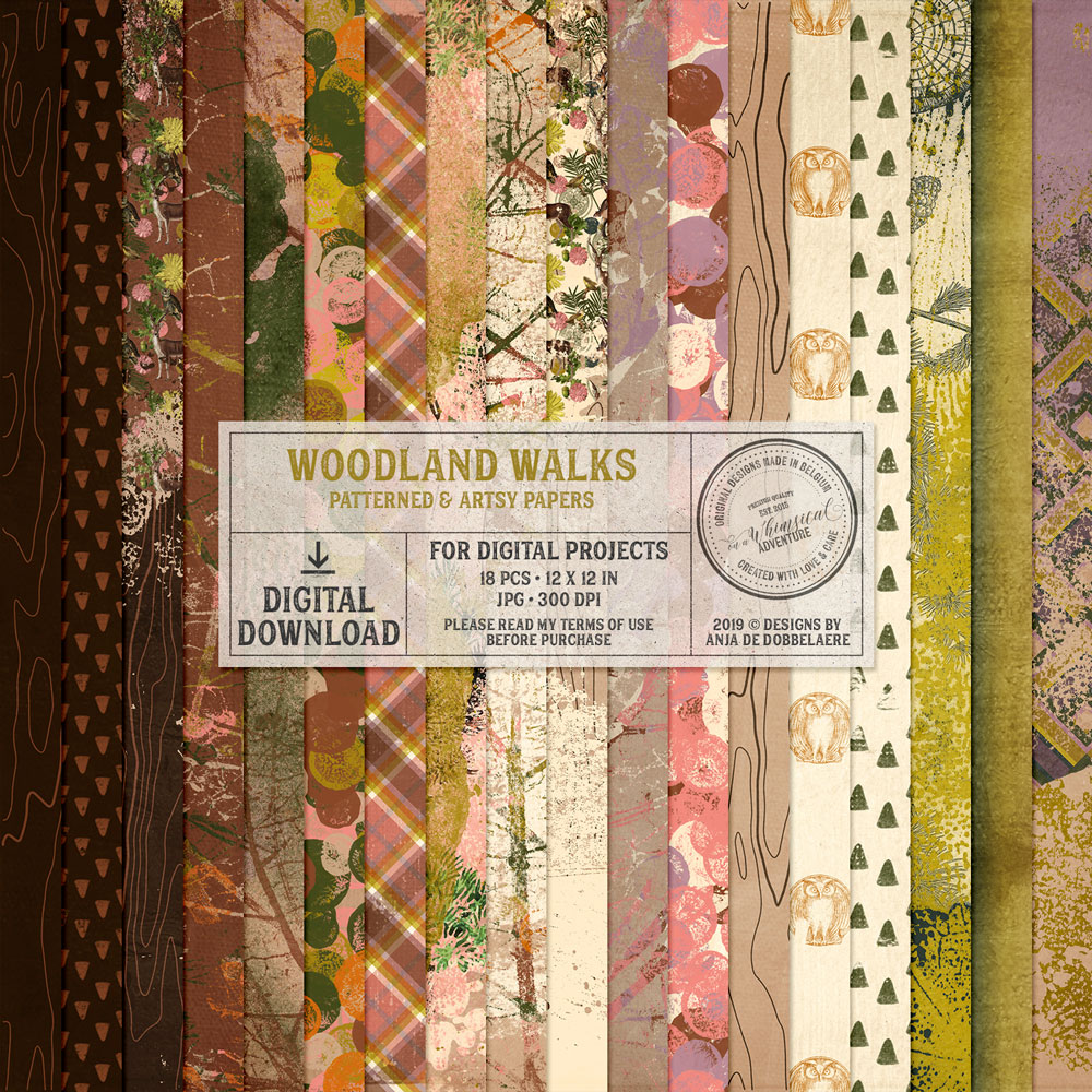Woodland Walks Pattern And Mixed Media Papers