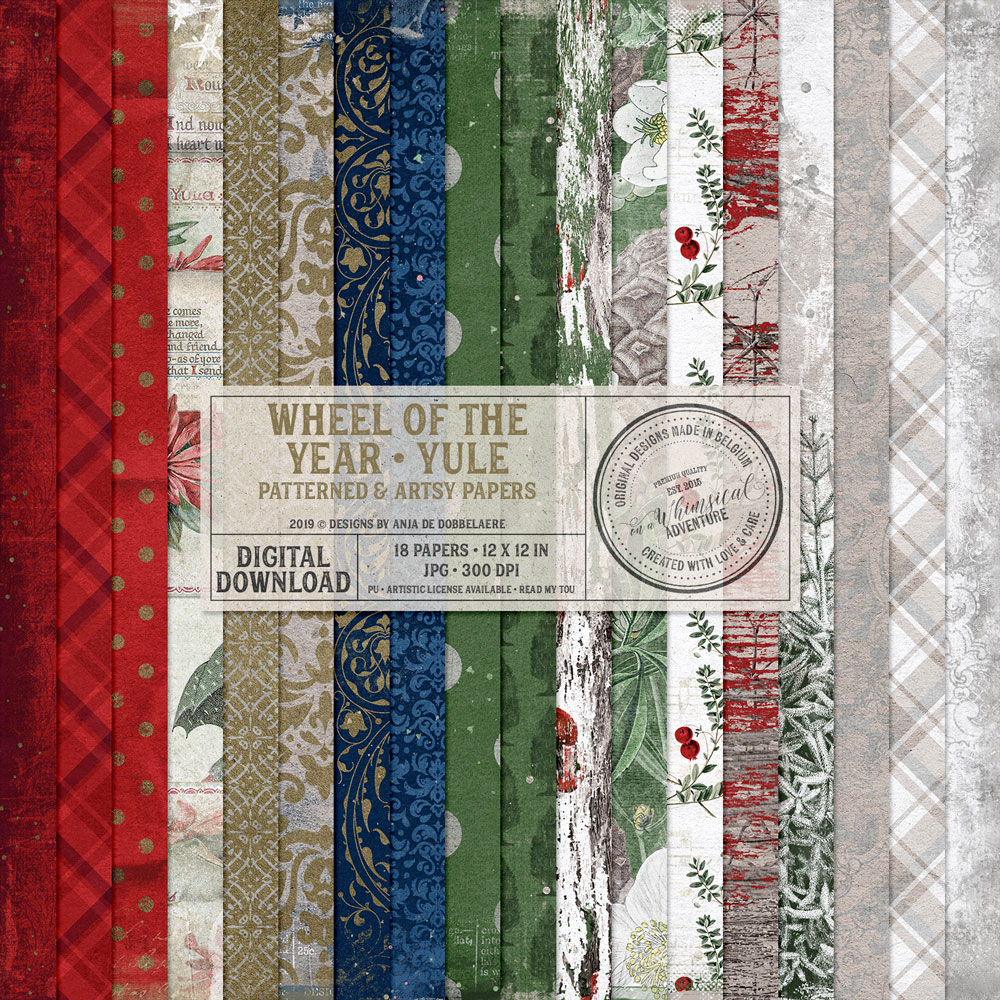 Wheel Of The Year Yule Patterned And Artsy Papers