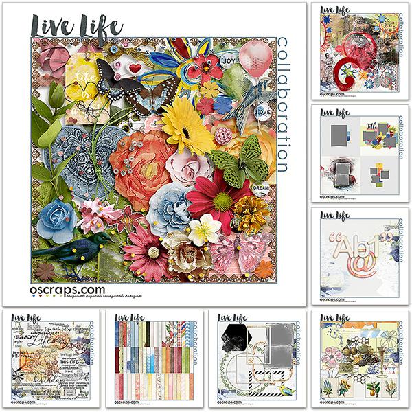 Live Life - An Oscraps Mega Collab Kit