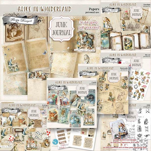 JUNK JOURNAL Alice in Wonderland Bundle PU by Florju Designs
