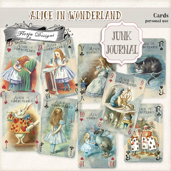 JUNK JOURNAL Alice in Wonderland Cards PU by Florju Designs