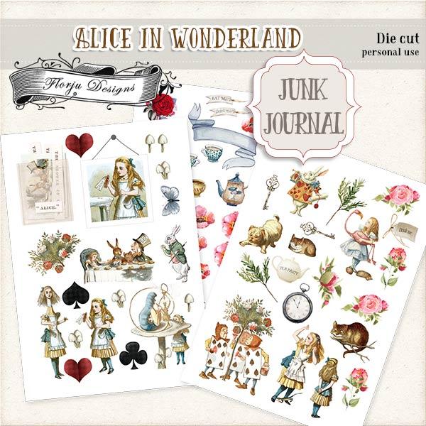 JUNK JOURNAL Alice in Wonderland Die Cut PU by Florju Designs