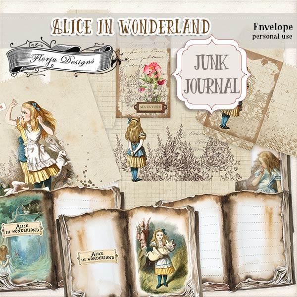 JUNK JOURNAL Alice in Wonderland Envelope PU by Florju Designs