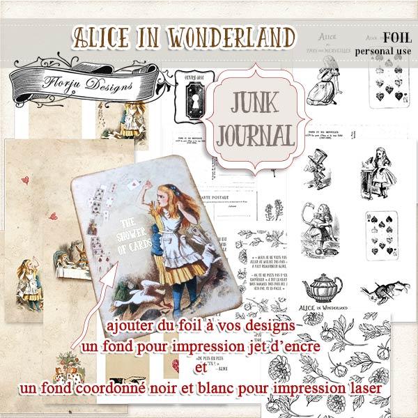 JUNK JOURNAL Alice in Wonderland Foil PU by Florju Designs