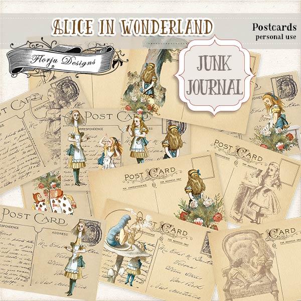 JUNK JOURNAL Alice in Wonderland Postcards PU by Florju Designs