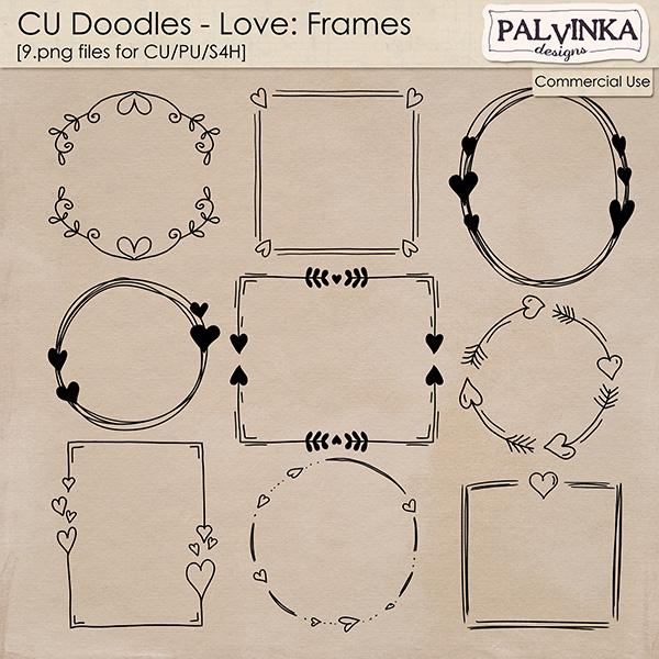 CU Doodles - Love Frames