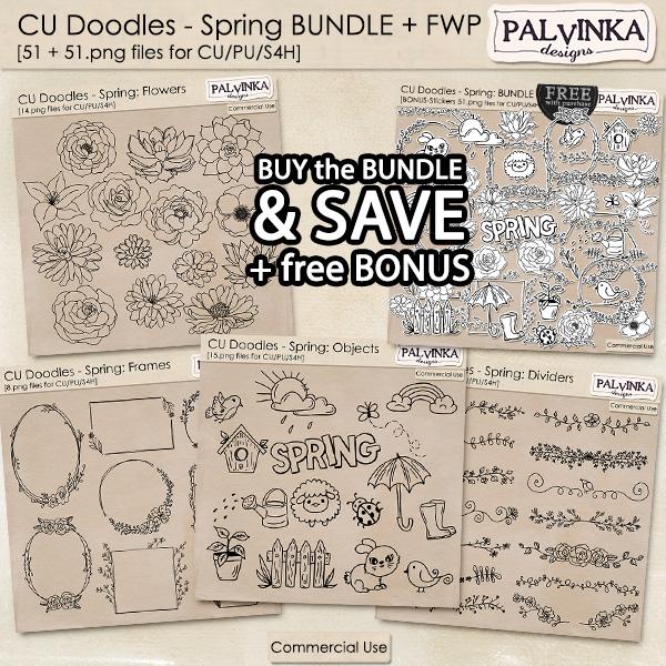 CU Doodles - Spring BUNDLE + free Bonus