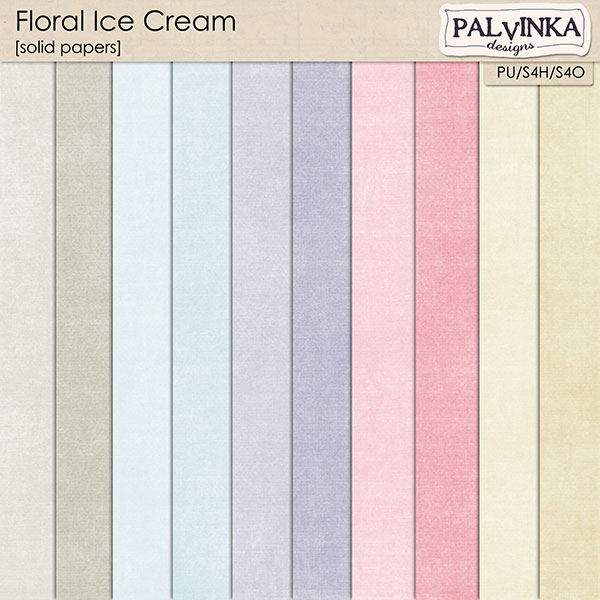 Floral Ice Cream Solid Papers