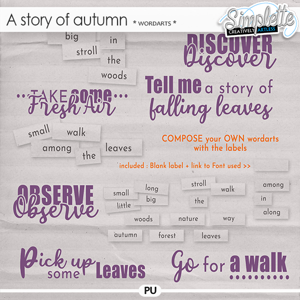 A Story of Autumn (wordarts)