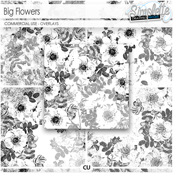 Big Flowers (CU overlays) by Simplette   Oscraps