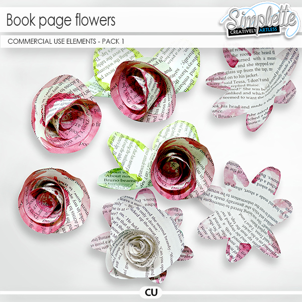 Book page Flowers (CU elements) pack 1