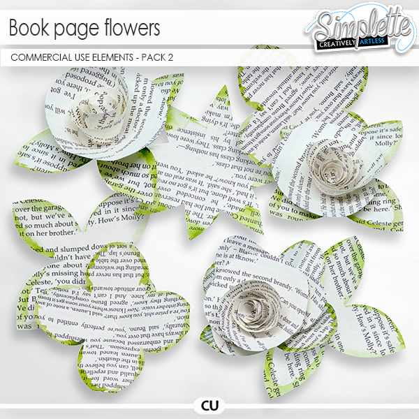 Book page Flowers (CU elements) pack 2