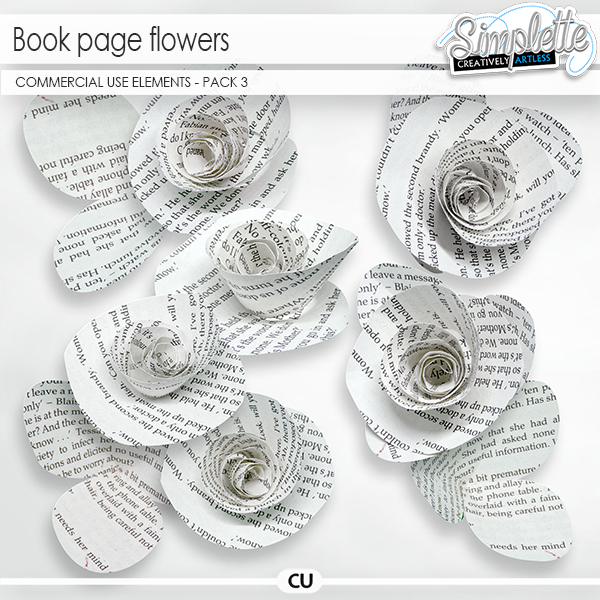Book page Flowers (CU elements) pack 3